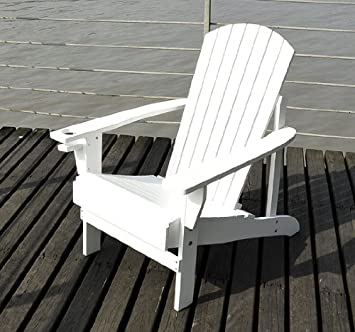 amazon com outsunny adirondack outdoor patio lounge chair white