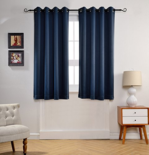 MYSKY HOME Solid Grommet top Thermal Insulated Window Blackout Curtains for Bedroom, 52 x 63 Inch, Navy, 1 Panel (Blue Bedroom Furniture)