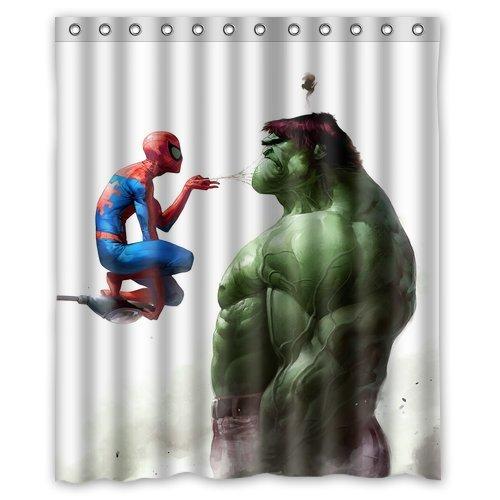 BOSKGML Custom Marvel Comics Superhero Hulk And Spiderman WaterProof Polyester Fabric Shower Curtain In Size 60