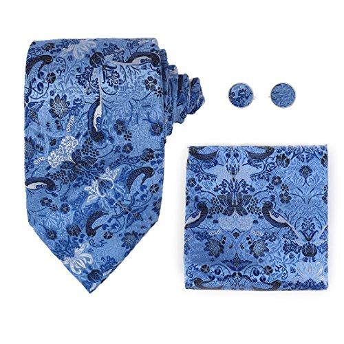 Y&G H7027 Blue Pattern Design Gift For Meeting Silk Ties Cufflinks Hanky Set ()