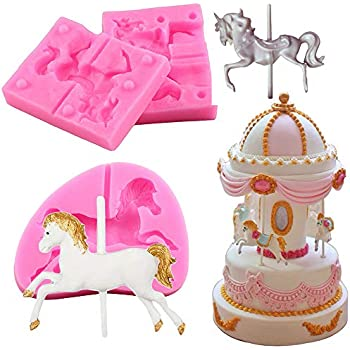 2018 CAROUSEL HORSE Silicone Mould Chocolate Cupcake Toppers Cake DECORATION