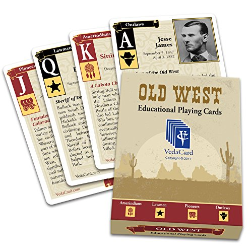 Educational Playing Card - VedaCard Old West Educational Playing Cards - Collectable - Have Fun Learning History