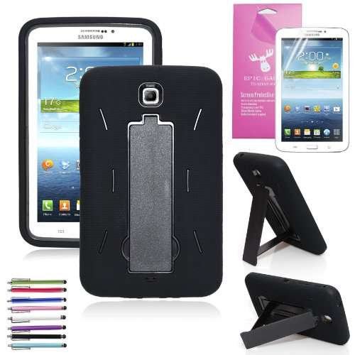 EpicGadget(TM) Black and Black Shockproof Heavy Duty Rugged Impact Hybrid Case with Build In i Kickstand Protective Case (Tablet 3 Samsung Case)