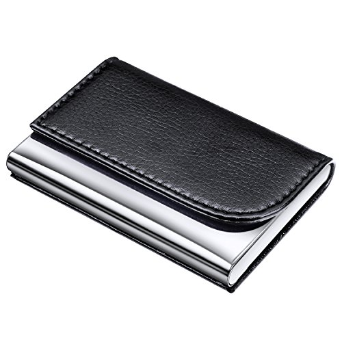 DMFLY Business Card Holder for Women and Men, 2018 New Version PU Leather Business Card Case Stainless Steel Metal Card Case with Magnetic Shut, Keep Business Cards in Immaculate Condition, Black-C001
