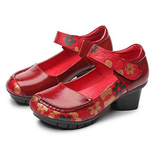 2 Jane avec Motifs Style Confortable Talons Moyens Cuir à Eté Socofy Rouges Printemps Chaussures Noirs Femme en Ville Mary Rouge Mocassins Classiques Escarpins de Fleurs g6OCPqSw