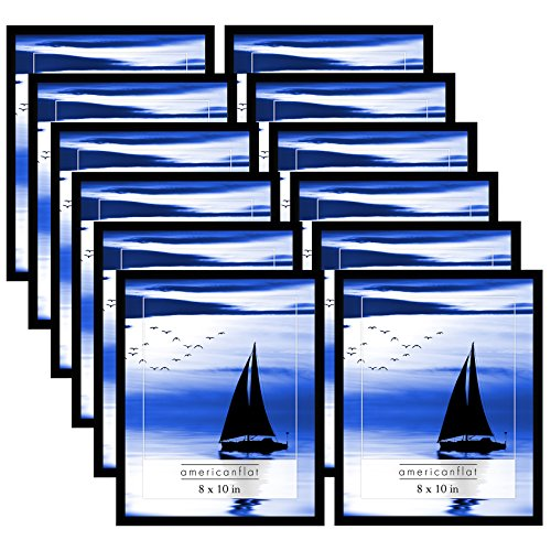 (Americanflat Frames with Glass Fronts, 12 Pack-8x10, Black)
