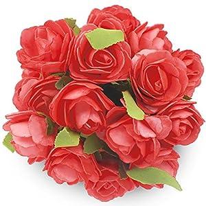 Foam Flower SOLEDI 6 Heads Roll Heart Artificial Roses For Bouquet DIY Wedding Arrangements Home Party Hotel Garden Decor -5 Bundles (Pink) 69