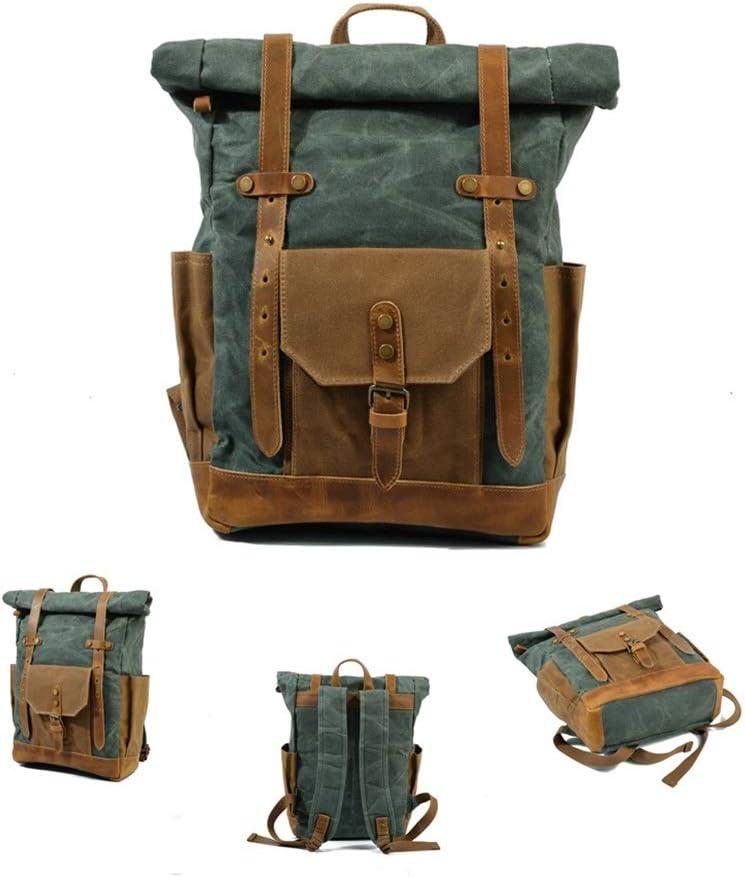 Backpack Outdoor Canvas Oil Wax Waterproof Travel Rucksacksbag Business School Bag for Men Computer Shoulder Strap Camping Trekking Work Sports Backpack Scratch-Resistant Color : Lake Green