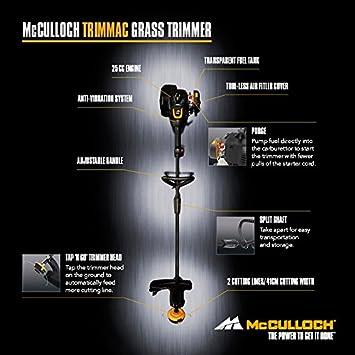 McCulloch 00096-72.562.01 TRIMMAC Desbrozadora con un ancho de trabajo de 40 cm, tubo guía dividido, sistema de doble hilo, protección combinada
