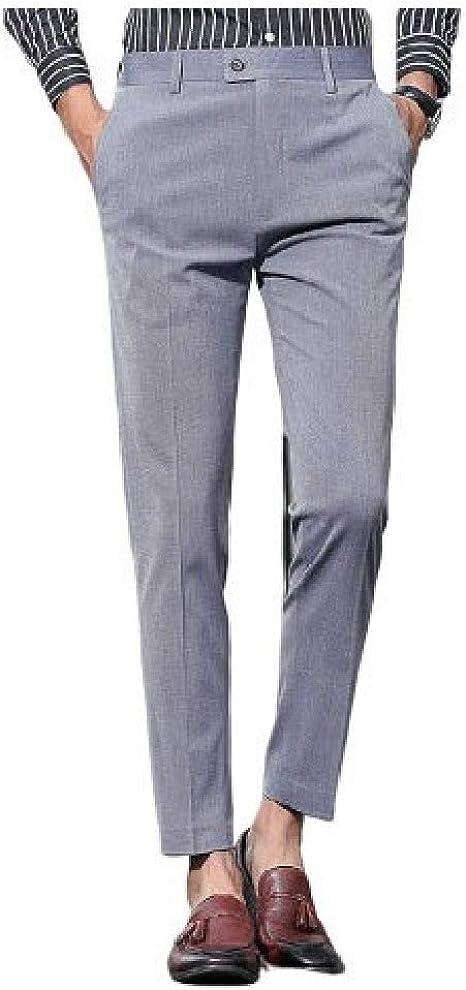 EnergyWD メンズ ソリッド ポケット ミッド ウエスト ボタン フラット フロント スリム フィット ドレス ズボン