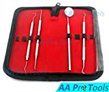 AA PRO DENTISTS TOOLS KIT BUNDLE WITH DENTAL MIRROR, TARTAR REMOVER, DENTAL PICK, SCRAPER AND CASE A+ QUALITY