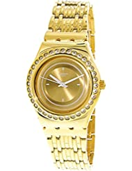Swatch Womens Glass Of Bubbles YLG136G Gold Stainless-Steel Swiss Quartz Fashion Watch