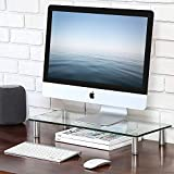 FITUEYES Glass Monitor Stand Riser for Computer TV Screen Height Adjustable DT105601GC