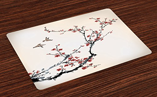 Ambesonne Nature Place Mats Set of 4, Cherry Branches Flowers Buds and Birds Asian Style Artwork with Painting Effect, Washable Placemats for Dining Room Kitchen Table Decoration, Black - Asian Bird Place