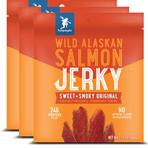 Smoked Salmon Jerky - Fishpeople Wild Alaskan Salmon Jerky, Sweet + Smoky Original, 2.15 ounce (3 pack), 24g Protein and 900mg Omega-3s per bag, Low sugar, Gluten-free, Antibiotic-free, Non-GMO.