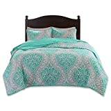 Purple and Teal Twin Bedding Comfort Spaces Coco 2 Piece Quilt Coverlet Bedspread Ultra Soft Printed Damask Pattern Hypoallergenic Bedding Set, Twin/Twin XL, Teal - Grey