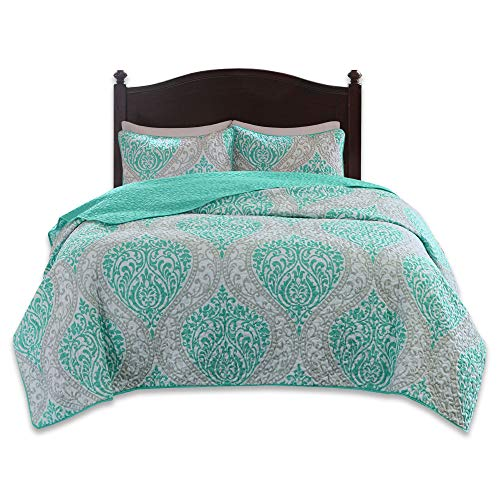 Comfort Spaces Coco 2 Piece Quilt Coverlet Bedspread Ultra Soft Printed Damask Pattern Hypoallergenic Bedding Set, Twin/Twin XL, Teal - Grey
