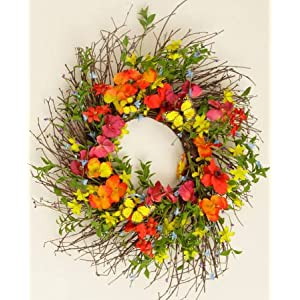 Your Heart's Delight Red Poppy and Orange Pansy with Butterfly Wreath, 22-Inch 97