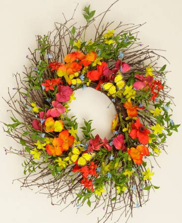 Your Heart's Delight Red Poppy and Orange Pansy with Butterfly Wreath, 22-Inch