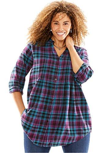 Womens Plus Size Pintuck Flannel Bigshirt Boysenberry Multi Plaid 3X