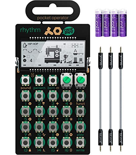 Teenage Engineering PO-12 Rhythm Pocket Operator, Drum Machine, 16 Sounds, Patterns & Effects Synthesizer & Sequencer Bundle with Blucoil 6-FT Headphone Extension Cable (3.5mm) & 2 AAA Batteries