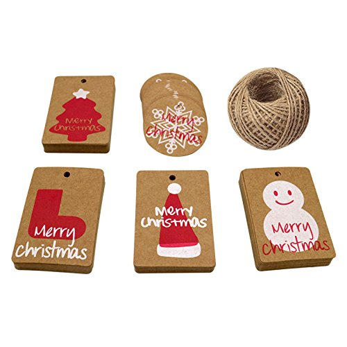 100 PCS Christmas Gift Tags with 100 Feet Natural Jute Twine,Classic Christmas Elements Kraft Paper Gift Tags Perfect for DIY Xmas Present Wrap Stamp and Label Package Name Card (5 Styles)