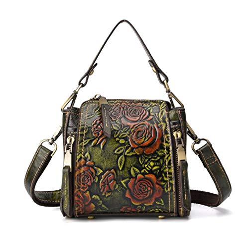 Xieben Handbags for Women Vintage Genuine Leather Tote Bag Womens Purses Casual Crossbody Ladies Designer Satchel Messenger Shoulder Bags Famous Brand Embossed Floral Big Large (Green)