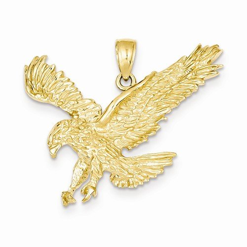Solid 14k Yellow Gold Textured Eagle Landing Pendant (27mm x (14k Gold Eagle Pendant)