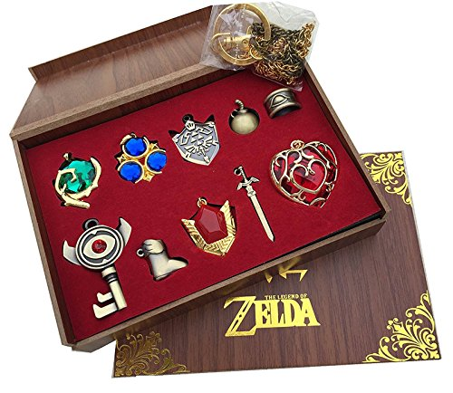The Legend of Zelda Triforce Hylian Shield & Master Sword Keychain/necklace/ornament Collection (Legend Of Zelda Accessories)