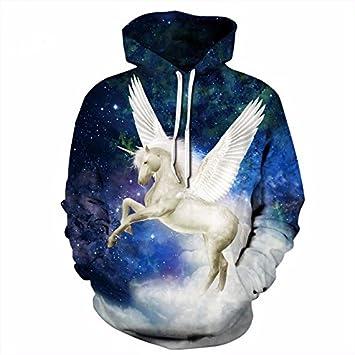 Wish Blue Space Galaxy Sudaderas Mujeres/Hombres par Chompa Imprimir 3D Alas Blanco Unicorn Hooded Pullover con Bolsos: Amazon.es: Deportes y aire libre