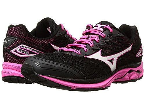 Mizuno Running Women's Wave Rider 20 Shoes, Black/White/Pink Glo, 7.5 B US