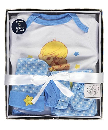 (Precious Moments Baby Boys Star & Teddy 5-Piece Layette Gift Set - Blue)