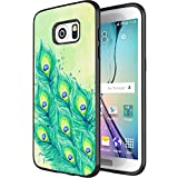 DOO UC(TM) Galaxy S7 Edge Case, Laser Technology for Protective Case for Samsung Galaxy S7 Edge Black Watercolor painting beautiful peacock tail feathers
