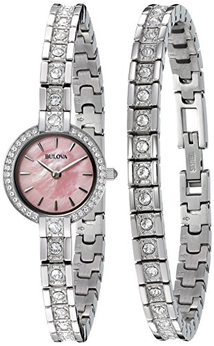 Ladies Bulova Crystal Watch (Bulova Women's 96X131 Swarovski Crystal Watch and Bracelet Box Set)
