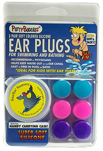 Putty Buddies Original Swimming Earplugs 3-Pair Pack (Purple/Teal/Magenta) ()