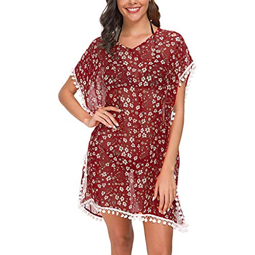 Allywit- Women Chiffon Blouse Floral Batwing Sleeve Beach Cover Up Loose Tunic Shirt Tops Red ()