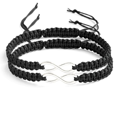 Wintefei 2Pcs/Set Handmade 8 Infinity Charm Braided Bracelet Friendship Couple Jewelry - Black