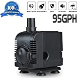 Submersible Water Pump 95GPH (350L/H) Professional Ultra-quiet Mini Water Pump for Aquarium,Garden,Pond,Fish Tank and Fountain with 6.2ft UL Listed Power Cord
