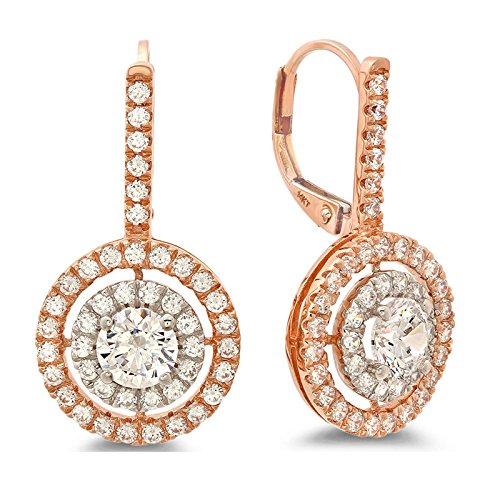 14k Multi Stone Dangle (2.57 CT Round Cut Simulated Diamond Pave Dangle LeverBack Stud Earrings Halo 14k White Rose Multi Gold)