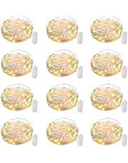 12 Pack Led Fairy Lights Battery Operated String Lights Waterproof Silver Wire, 7Ft 20 LED Firefly Starry Moon Lights for DIY Wedding Party Bedroom Patio Christmas, Warm White