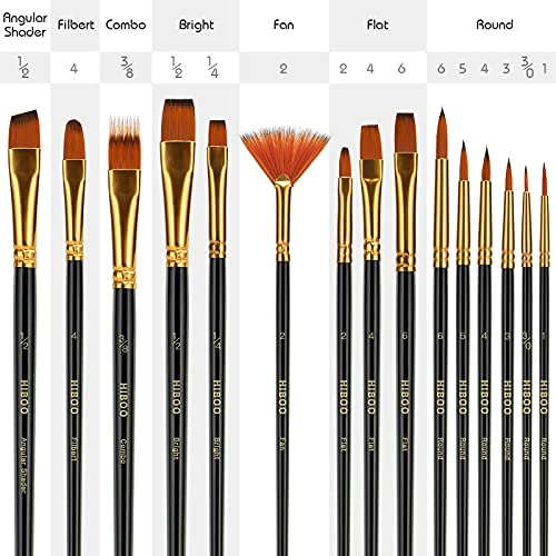 HIBOO Art Paintbrush Set-15 Different Sizes of Professionals PaintBrushes Wood Handles with Oil-Sealing Technique for Watercolor Acrylic Oil , Face and Nails Painting