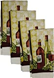 Set of 4, 100% Cotton Everyday Basic Printed Terry Kitchen Towels Size : 15'' x 25'' - Wine Collection (Wine_2)