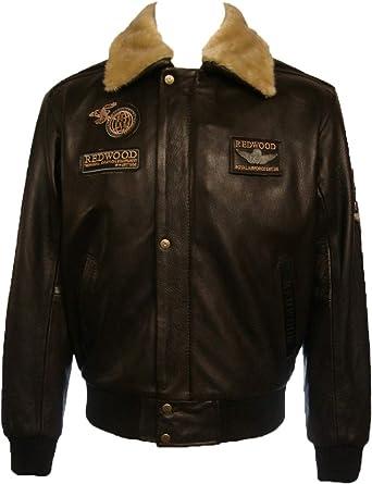 UNICORN Hombres Genuino real cuero chaqueta Piloto Marrón Vaca pellejo #N4: Amazon.es: Ropa y accesorios