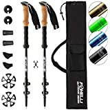 Foxelli Aluminum Trekking Poles – Collapsible, Lightweight, Aluminum 7075 Hiking, Walking & Running Sticks with Natural Cork Grips, Quick Locks, 4 Season/All Terrain Accessories and Carry Bag