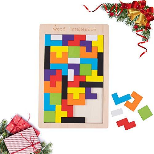40Pcs Wooden Tetris Puzzle 3D Tangram Jigsaw Educational Toys Preschool Children