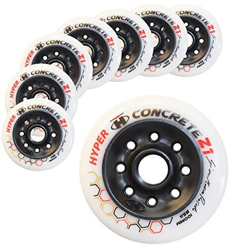 Hyper Concrete Z1 White/Black - 8 Wheels - 100MM / 85A. New Inline Skate Wheels ()