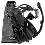 Phantom Aquatics Legendary Mask Fin Snorkel Set with Mesh Bag, All Black, Medium/Large