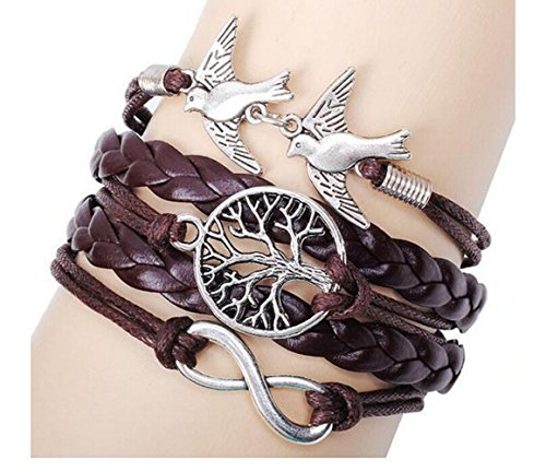 Most Beloved Vintage Style Black Leather Rope Tree Branches Love Birds Infinity Love Bracelet