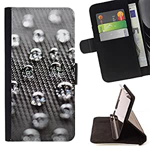 DEVIL CASE - FOR Samsung Galaxy A3 - Water Drops - Style PU Leather Case Wallet Flip Stand Flap Closure Cover