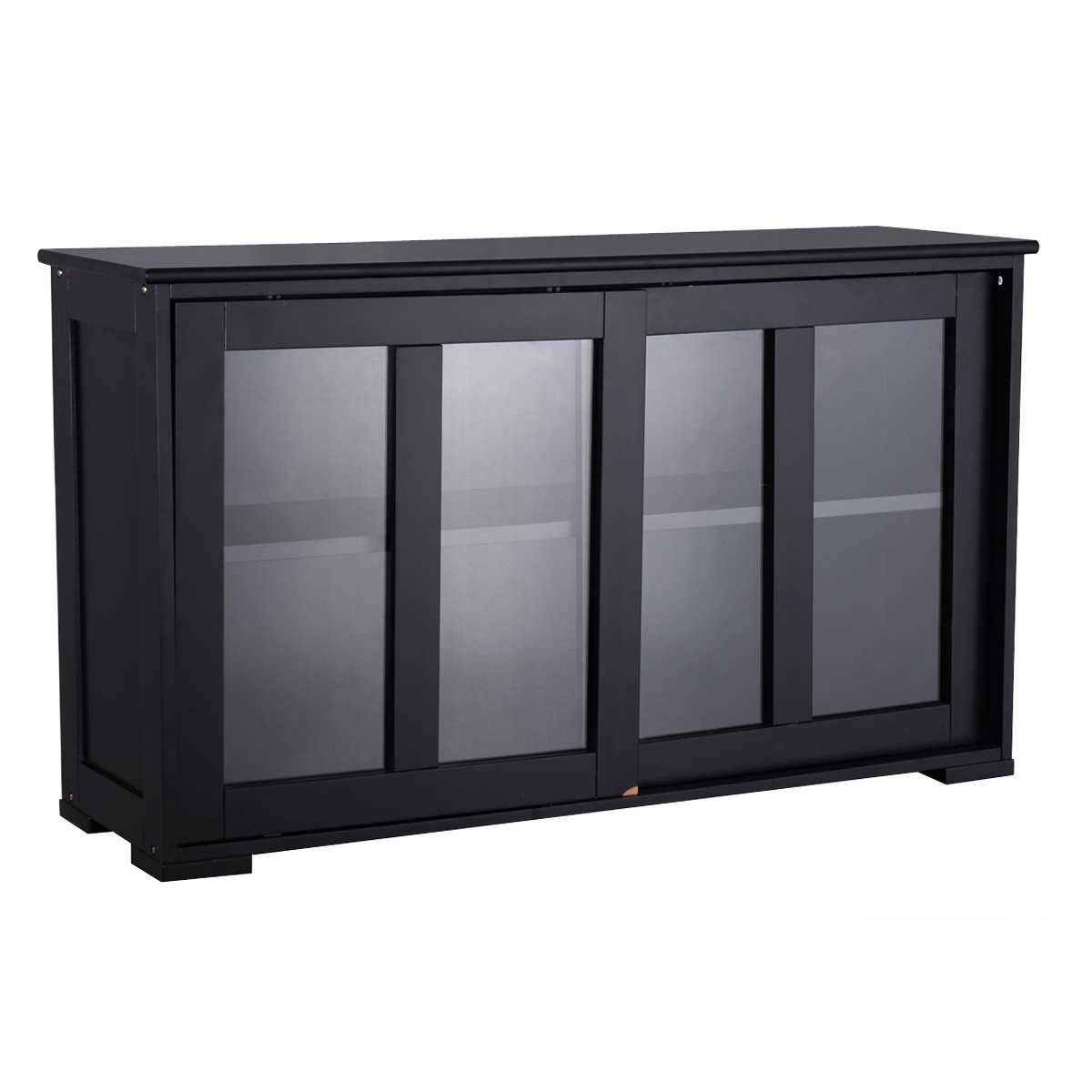 WATERJOY Kitchen Storage Sideboard, Stackable Buffet Storage Cabinet with Sliding Door Tempered-Glass Panels for Home Kitchen, Antique Black by WATERJOY (Image #4)
